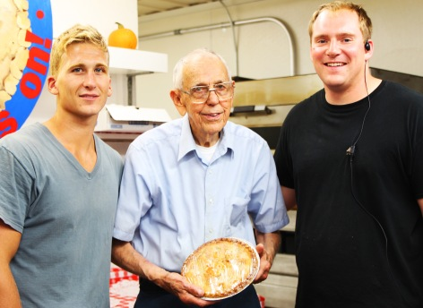 """Herbert """"hippie"""" Wagner has been baking pies for 35 years. He is with Zach and Ryan."""