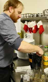 Topher mixes Mango Lassi Cocktail
